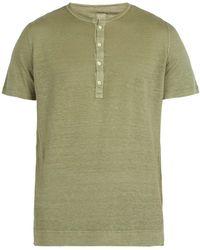 120% Lino - Henley Linen Jersey T Shirt - Lyst