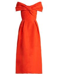 Carolina Herrera - Off-the-shoulder Silk-faille Dress - Lyst