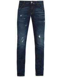 Dolce & Gabbana - Distressed Slim-leg Jeans - Lyst