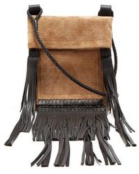 Saint Laurent - Fringed-leather Suede Cross-body Bag - Lyst