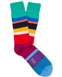 Paul Smith - Mike Multicolour Striped Cotton-blend Socks - Lyst