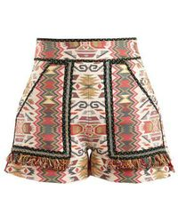 Talitha - Aztec-jacquard Cotton-blend Shorts - Lyst