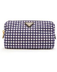 Prada - - Gingham Cotton Make Up Bag - Womens - Navy - Lyst