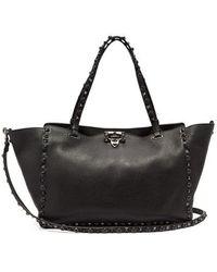 Valentino - - Rolling Rockstud Medium Leather Tote - Womens - Black - Lyst