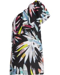 Mara Hoffman - Xylophone Black-print One-shoulder Linen Dress - Lyst