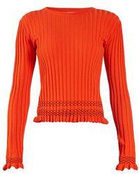 Altuzarra - Malou Ruffled-cuff Ribbed-knit Jumper - Lyst