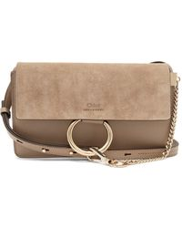 dad4b7c6ca49c Lyst - Chloé Faye Mini Leather And Suede Cross-Body Bag in Blue