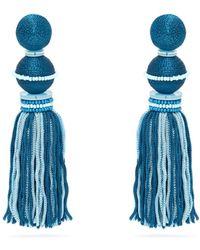 Oscar de la Renta - Bead Embellished Tassel Drop Clip Earrings - Lyst
