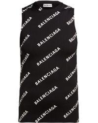 Balenciaga - Printed Ribbed-knit Top - Lyst