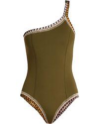 KIINI - Wren One-shoulder Crochet-trimmed Swimsuit - Lyst
