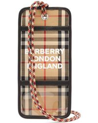 Burberry Checked Logo Print Cardholder Necklace - Natural