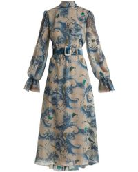 Luisa Beccaria - Wave And Butterfly Print Georgette Midi Dress - Lyst
