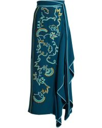 Peter Pilotto - Embroidered Asymmetric Crepe-cady Skirt - Lyst