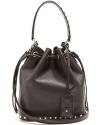 Valentino - Rockstud Bucket Grained-leather Cross-body Bag - Lyst