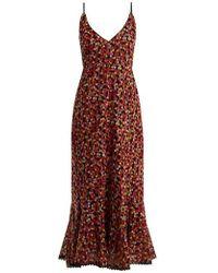 Saloni - Aidan Dot-embroidered V-neck Dress - Lyst