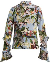 Erdem - Louella Facette Dream Bird Print Silk Blouse - Lyst