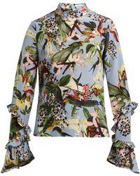 Erdem - Louella Facette Dream Bird Print Silk Blouse - Lyst