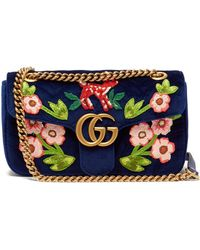 12e5408b49c59 Lyst - Gucci Pink Gg Marmont Mini Velvet Shoulder Bag in Pink