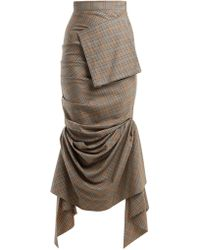 Awake - Ruched Checked Wool Skirt - Lyst