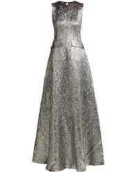 Rochas - Metallic Wool Blend Jacquard Gown - Lyst
