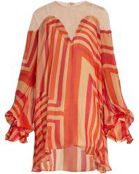 Katie Eary - Geo-print Silk-chiffon Dress - Lyst