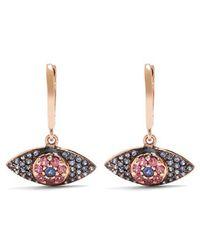 Ileana Makri - - Sapphire, Rodolites & Pink Gold Earrings - Womens - Rose Gold - Lyst