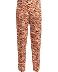 Prada - U Print Tailored Wool Blend Trousers - Lyst
