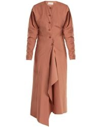Lemaire - Asymmetric-hem Cotton-poplin Dress - Lyst