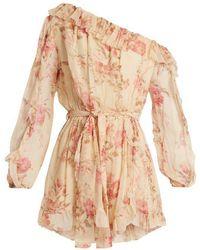 Zimmermann - Corsair Whimsy Floral-print Silk Playsuit - Lyst