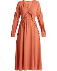 Bottega Veneta - Ruffle-trimmed Silk Dress - Lyst