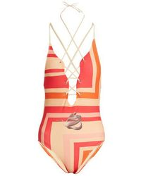 Katie Eary - Geo-print Lace-up Swimsuit - Lyst