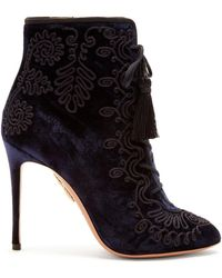 Aquazzura - Almaty Embroidered Lace-up Velvet Ankle Boots - Lyst