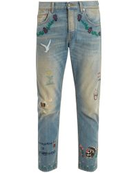 Gucci - Mid-rise Embroidered Tapered-leg Jeans - Lyst