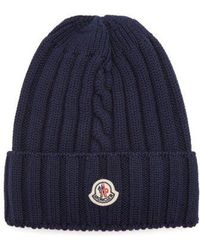 Moncler - Ribbed-knit Wool Beanie Hat - Lyst