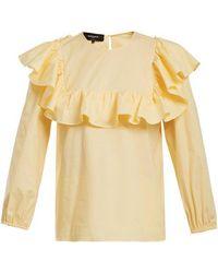 Rochas - Round-neck Ruffled Cotton-blend Top - Lyst