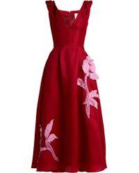 Carolina Herrera - Floral Appliqué Silk Gazar Dress - Lyst