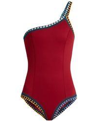 KIINI - Soley One Shoulder Crochet Trimmed Swimsuit - Lyst