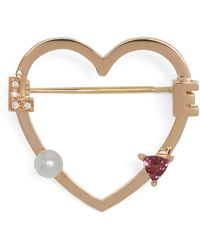 Delfina Delettrez | Diamond, Rhodolite, Pearl & Pink-gold Brooch | Lyst