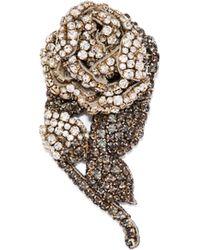 Rochas - Crystal Embellished Rose Brooch - Lyst