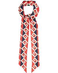 Gucci - Geometric Logo-print Silk-twill Scarf - Lyst