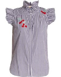 Bliss and Mischief - Cherry-embroidered Gingham Cotton Shirt - Lyst