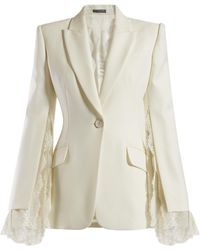 Alexander McQueen - Lace Trimmed Single Breasted Crepe Blazer - Lyst