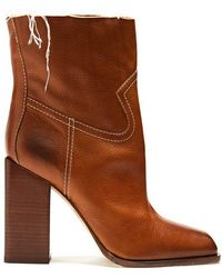 Saint Laurent - Jodie Square-toe Leather Ankle Boots - Lyst