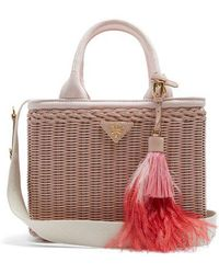 Prada - Canvas And Wicker Bag - Lyst