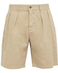 Hope Tuck Cotton Twill Shorts - Natural