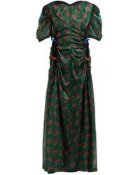 Toga - Floral Print Ruched Cut Out Maxi Dress - Lyst