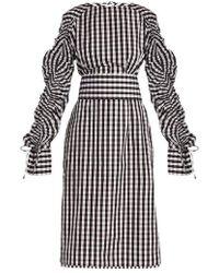 Teija - Smocked-sleeve Cotton-gingham Dress - Lyst
