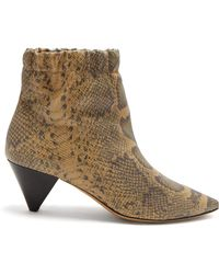 Isabel Marant - Leffie Snake-effect Leather Ankle Boots - Lyst