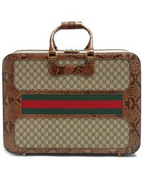 Gucci - Gg Supreme Watersnake-trimmed Canvas Suitcase - Lyst