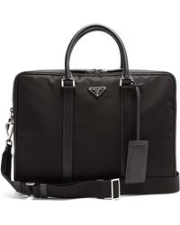 Prada | Leather-trimmed Double-zip Nylon Briefcase | Lyst